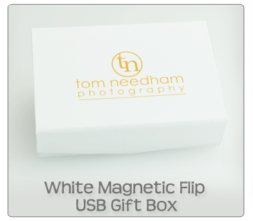 White Magnetic Flip USB Gift Box
