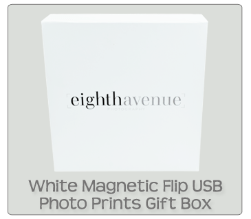 White Magnetic Flip Photo Prints USB Gift Box