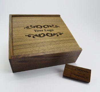 product 8gb dark wooden block usb large dark wooden slide photo print gift box