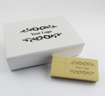 usb wooden block small white magnetic flip gift box