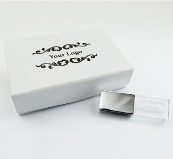 8Gb USB crystal small white magnetic flip gift box